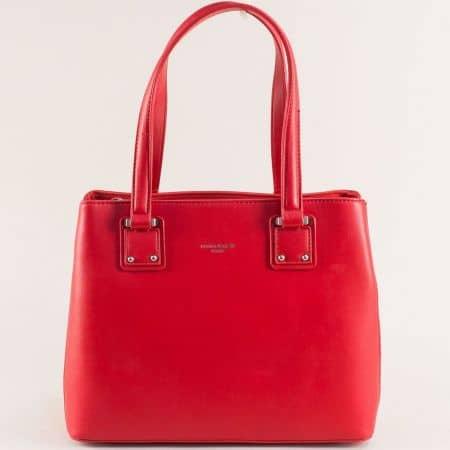 Дамска чанта в червен цвят с твърда структура- DAVID JONES cm5787chv