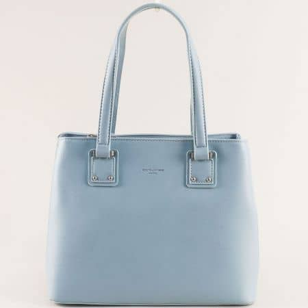 Дамска чанта в светло синьо с твърда структура- DAVID JONES cm5787s