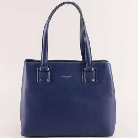 Тъмно синя дамска чанта с твърда структура- DAVID JONES cm5787ts