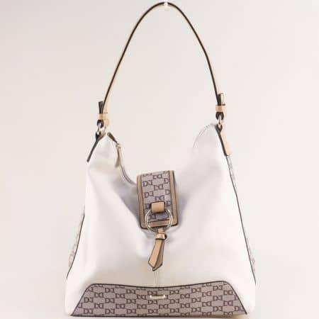 Бежова дамска чанта, тип торба с частичен принт- DAVID JONES cm5803bj