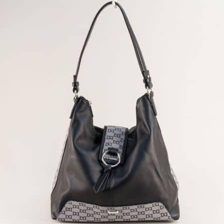Черна дамска чанта, тип торба с частичен принт- DAVID JONES cm5803ch