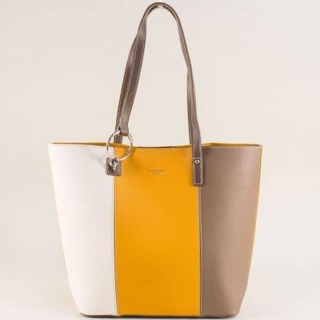 Дамска чанта с органайзер в бяло, жълто и светло кафяво cm5117aj