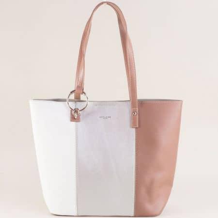 Дамска чанта в бяло, кафяво и сребро- DAVID JONES cm5117asr