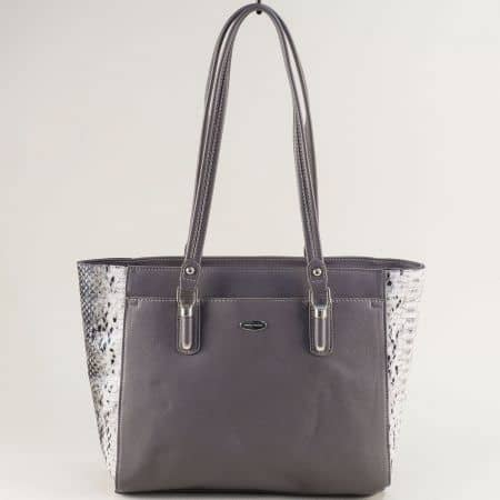 Сива дамска чанта с частичен змийски принт- DAVID JONES cm5361sv