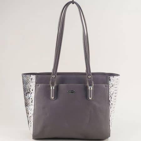 Сива дамска чанта със змийски принт- DAVID JONES cm5361sv