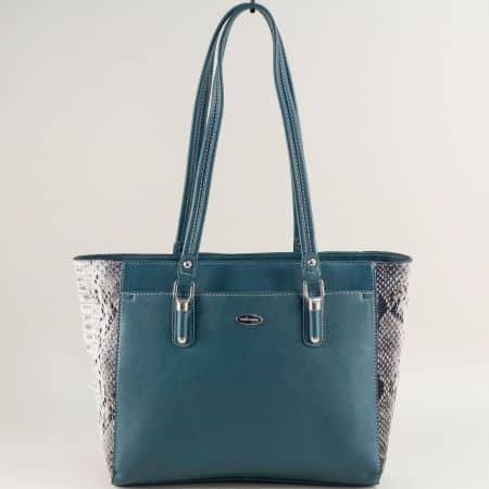 Зелена дамска чанта със змийски принт- DAVID JONES cm5361z