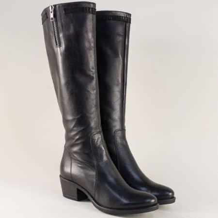 Черни дамски ботуши на среден ток от естествена кожа corte63ch