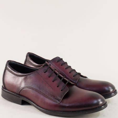 Мъжки обувки в цвят бордо с връзки и кожена стелка d10bd
