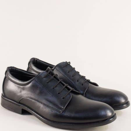 Кожени мъжки обувки в черен цвят с кожена стелка d10ch