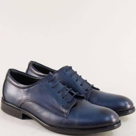 Мъжки обувки с връзки от естествена кожа в син цвят  d10s