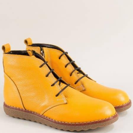 Жълти дамски боти от естествена кожа и каучук dd100j