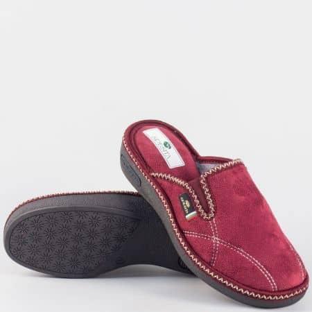 Дамски пантофи в цвят бордо- Spesita dottibd