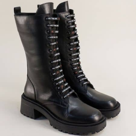 Дамски черни ботуши от естествена кожа  e4ch
