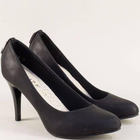 Черни дамски обувки с кожена стелка- ELIZA e888ch