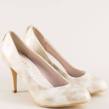 Златни дамски обувки на висок ток с кожена стелка e888zl