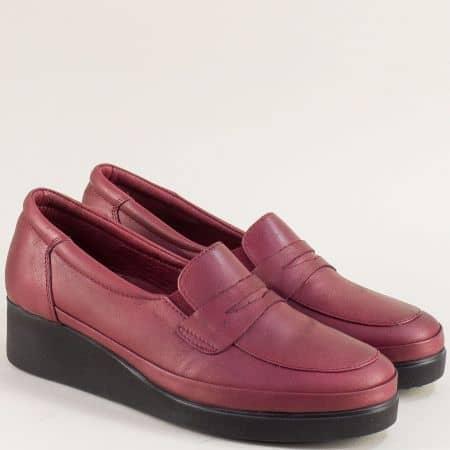 Кожени дамски обувки на клин ходило в цвят бордо f105bd