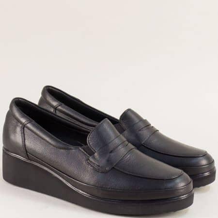 Черни дамски обувки на клин ходило от естествена кожа f105ch