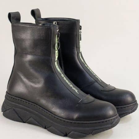 Черни дамски боти от естествена кожа на платформа f1066ch