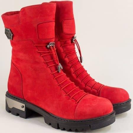 Червени дамски боти  на нисък ток от естествен набук f1068nchv