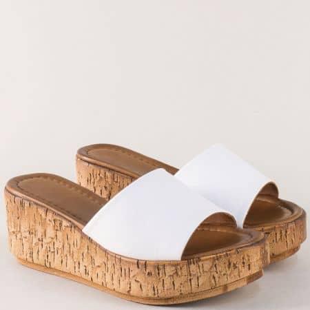 Бели дамски чехли на платформа с кожена стелка f10b