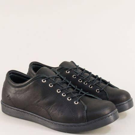 Дамски спортни обувки в черен цвят от естествена кожа f1104ch