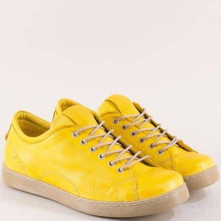 Жълти дамски обувки на гъвкаво ходило от естествена кожа  f1104j