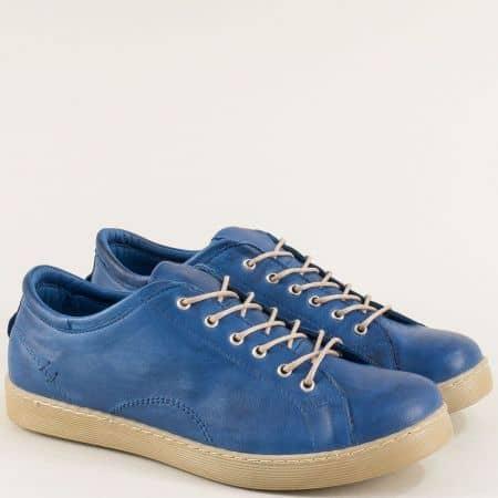 Дамски спортни обувки от естествена кожа в син цвят f1104s