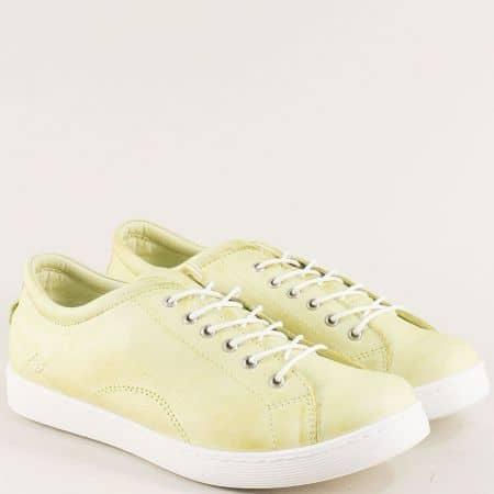 Дамски обувки в зелен цвят от естествена кожа f1104z