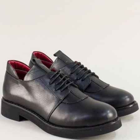 Черни дамски обувки с връзки от естествена кожа f1111ch