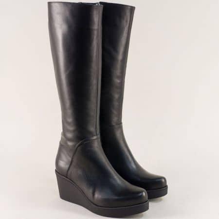 Черни дамски ботуши на платформа от естествена кожа f117ch