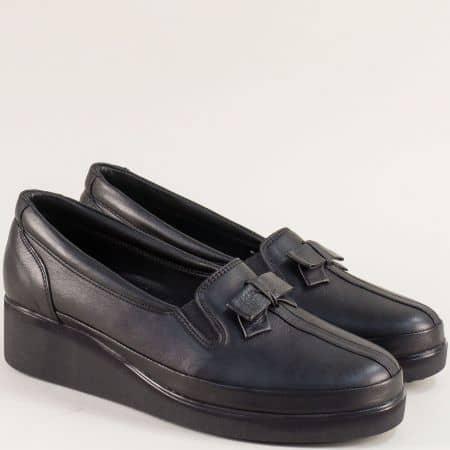 Кожени дамски обувки в черен цвят на клин ходило  f112ch