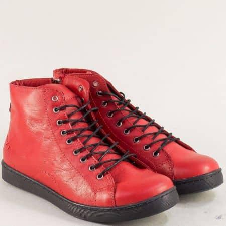 Дамски спортни боти от естествена кожа в червен цвят f1152chv