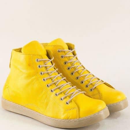 Жълти дамски кецове на гъвкаво ходило от естествена кожа f1152j