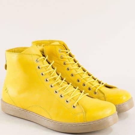 Жълти дамски боти с мека стелка от естествена кожа f1152j1