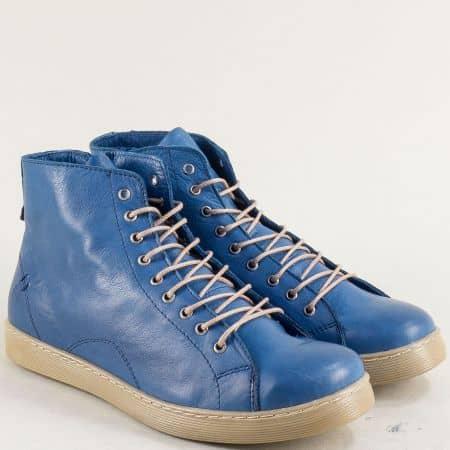 Сини дамски боти от естествена кожа на равно ходило f1152s