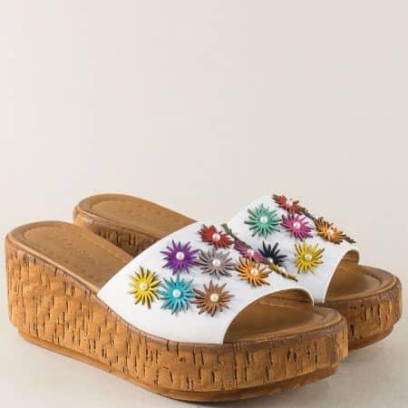 Пъстри дамски чехли от естествена кожа на платформа f11bps1