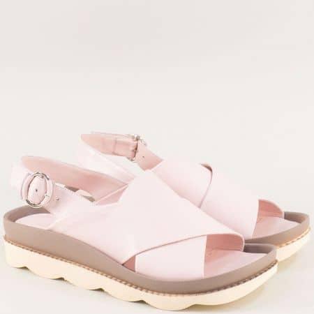 Равнии дамски сандали от естествена кожа в розов цвят f1214rz