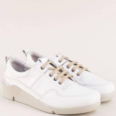 Бели дамски обувки от естествена кожа с връзки f1297b