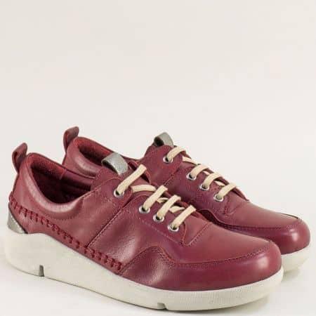 Дамски обувки с връзки от естествена кожа в цвят бордо f1297bd
