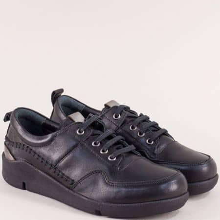Дамски обувки в черен цвят с кожена стелка и връзки f1297ch