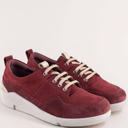 Дамски обувки с връзки от естествен набук в цвят бордо f1297nbd