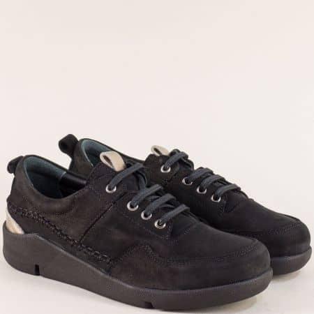 Дамски обувки с връзки и кожена стелка в черен цвят f1297nch