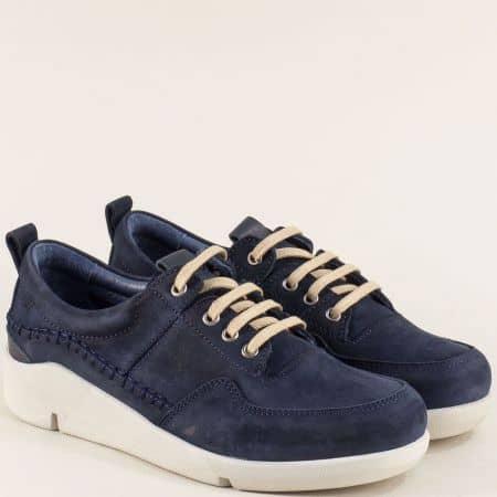 Естествен велур дамски обувки в син цвят f1297ns