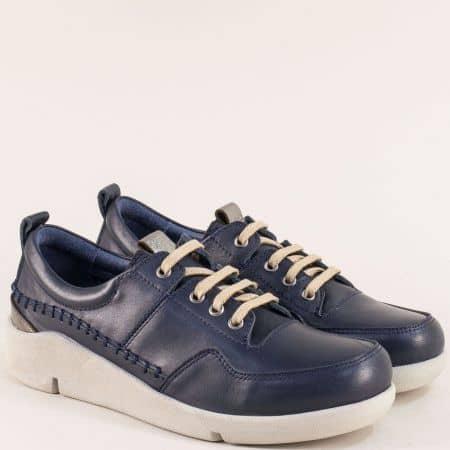 Кожени дамски обувки с връзки в тъмно син цвят f1297s