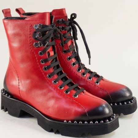 Червени дамски боти на нисък ток от естествена кожа f1546chv