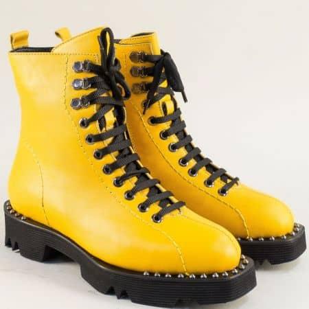 Жълти дамски боти с грайфер от естествена кожа f1546j