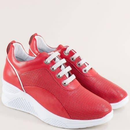 Червени дамски обувки от естествена кожа с перфорация  f1559chv