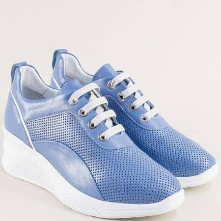 Дамски обувки от естествена кожа с перфорация в син цвят f1559s