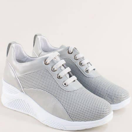Сиви дамски обувки от естествена кожа на платформа f1559sv