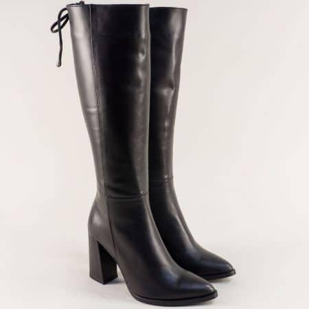 Черни дамски ботуши със заострен връх и висок ток f170ch